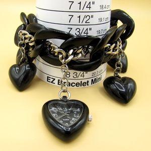 Betsey Johnson Black Heart Timepiece Bracelet